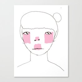 Line Drawing of Girl with Bun  Canvas Print