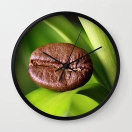 Coffee beans on bamboo Wall Clock
