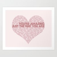 "bruno mars Art Prints featuring ""Just The Way You Are"" Bruno Mars Word Cloud by Jabberdashery"