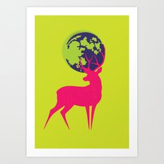 Electro deer Art Print