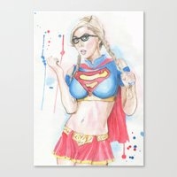 supergirl Canvas Prints featuring Supergirl by James Murlin