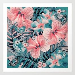Vintage Jade Coral Aloha Art Print