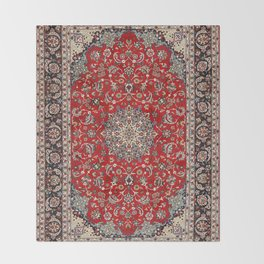 Fine Silk & Wool Isfahan Persian Rug Print Throw Blanket