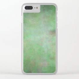 Abstract Watercolor Blend 3 Deep Dark Green and Light Green Clear iPhone Case