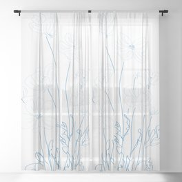 cosmos flowers line drawing Sheer Curtain