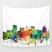 maryland Wall Tapestries featuring Baltimore, Maryland Skyline SP by Marlene Watson