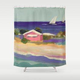 PINK COTTAGE BEACH Shower Curtain