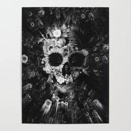 Garden Skull Dark B&W Poster
