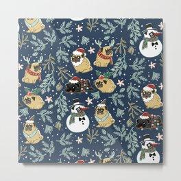 Christmas Pugs Metal Print