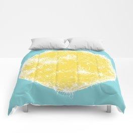 Large Sun Print, blue & yellow solar design by Little Lark Comforters