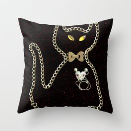 I Love Me Mouse! Cat and Mouse Jewelry Scanography Throw Pillow