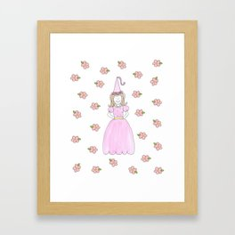 Pink Princess Light Brown Framed Art Print
