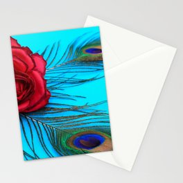 Vintage Rose With Peacock Feathers - In Memoriam Stationery Cards