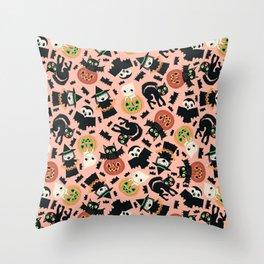 Halloween Gang Pink Throw Pillow