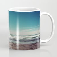 west coast Mugs featuring West Coast II by Hannah Kemp