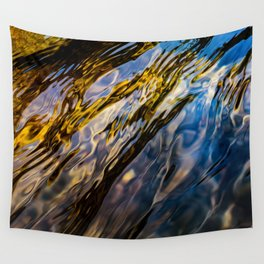 River Ripples in Copper Gold Blue and Brown Wall Tapestry