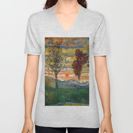 Four Trees with Red Leaves at Sunrise landscape painting by Egon Schiele Unisex V-Neck