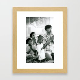 Thai Family Praying Framed Art Print