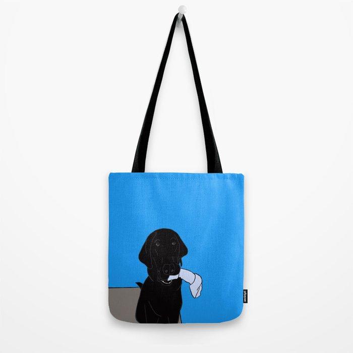 Black Lab With A Bone Tote Bag