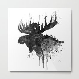 Black and White Moose Head Watercolor Silhouette Metal Print