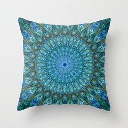 Pretty detailed sea blue and green mandala Throw Pillow