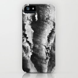 gray black and white gradient, marbling watercolor paint in monotype technique, abstract texture iPhone Case