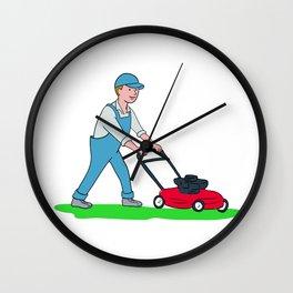 Gardener Mowing Lawn Cartoon Wall Clock