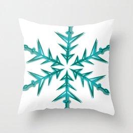 Minimalistic Aquamarine Snowflake Throw Pillow