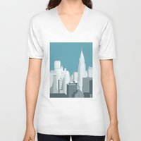 manhattan V-neck T-shirts featuring Manhattan by mauromod