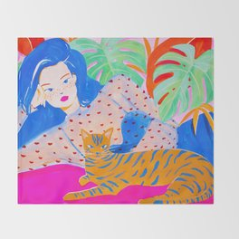Girl Relaxing with Cat Throw Blanket
