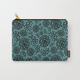 Flowery black Carry-All Pouch