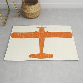 Vintage Orange Airplane Art Print Rug
