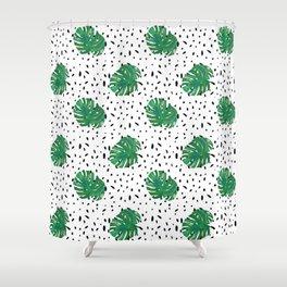Monstera Dot Spots Shower Curtain