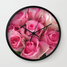 Pink Roses Bouquet Wall Clock