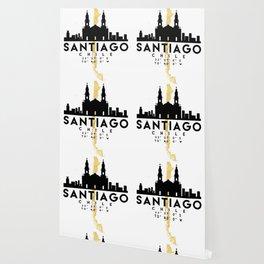 SANTIAGO DE CHILE SILHOUETTE SKYLINE MAP ART Wallpaper