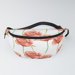 Poppy Flower Watercolor Painting Pattern Fanny Pack