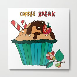 Delicious cupcakes with chocolate and caramel. Metal Print