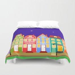 Cute Night Town Cartoon Houses Duvet Cover
