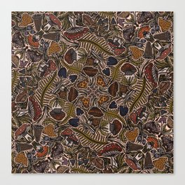 Funghi & Fern Forest, Fall Colors , Foraging for Woodland Mushrooms Brown, Orange Purple Canvas Print