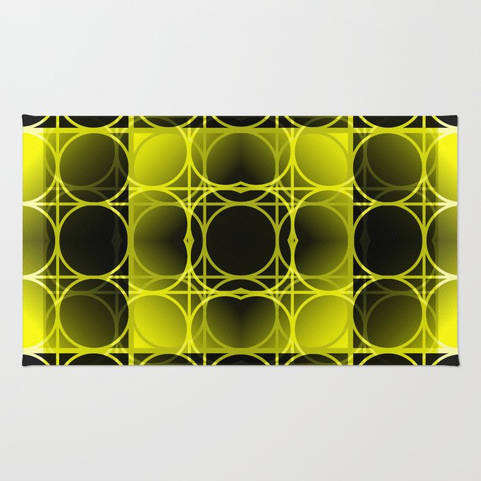 Circles, Grids and Shadows in Black and Yellow Rug