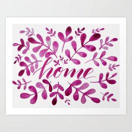 Watercolor home foliage - pink Art Print
