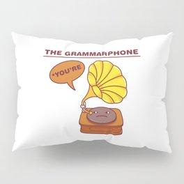 The Grammarphone - Funny Gramophone Wordplay Pillow Sham