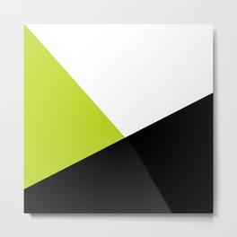 Trichromatic Black White Lime Color Block Metal Print
