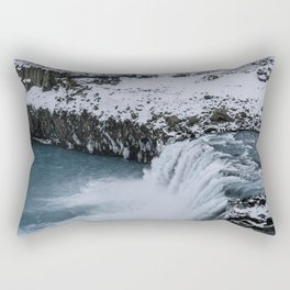 Waterfall in Icelandic highlands during winter with mountain - Landscape Photography Rectangular Pillow