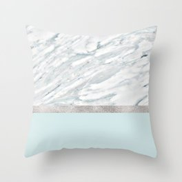 Calacatta verde - silver turquoise Throw Pillow