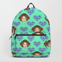 Beautiful faces of boho girls, pretty floral hearts feminine artistic gorgeous romantic pattern Backpack