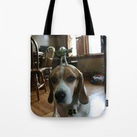 buzz lightyear Tote Bags featuring Bruno and Mini Buzz Lightyear by Bruno The Beagle
