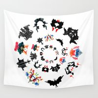 psychology Wall Tapestries featuring Rorschach test subjects' perceptions of inkblots psychology   thinking Exner score  by Luxorama
