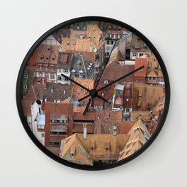 Alsace Rooftops Wall Clock