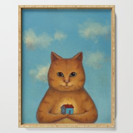 Every Cat need a Home. Ginger Cat Illustration Serving Tray
